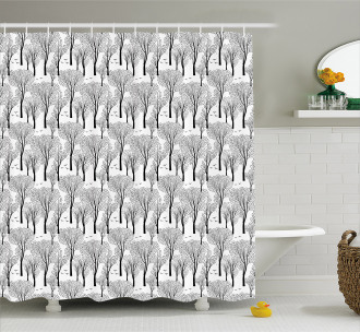 Abstract Forest Birds Shower Curtain