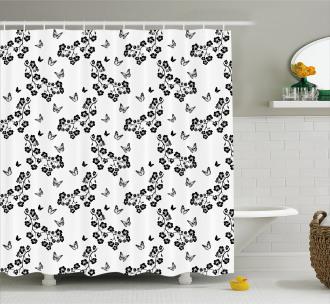 Japanese Monochrome Shower Curtain