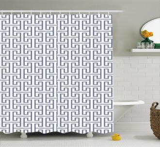 Grid Maze Pattern Shower Curtain