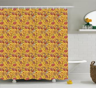 Paisleys Flowers Leaves Shower Curtain