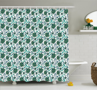 Eastern Floral Pattern Shower Curtain