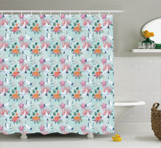 Cranes and Flowers Motif Shower Curtain