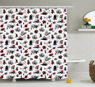 Japanese Architecture Shower Curtain
