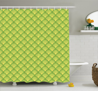 Japanese Floral Waves Shower Curtain