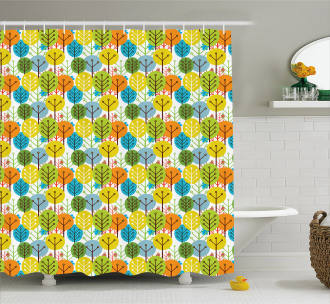 Sute Summer Trees Pattern Shower Curtain