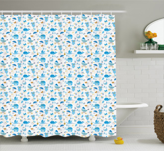 Stork Carrying a Baby Shower Curtain