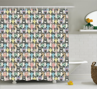 Retro Hipster Bow Ties Shower Curtain
