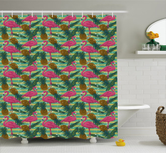 Pineapples Banana Leaf Shower Curtain