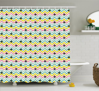 Pastel Color Chevron Shower Curtain
