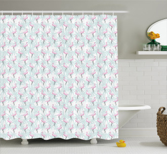 Palm Trees Pink Birds Shower Curtain