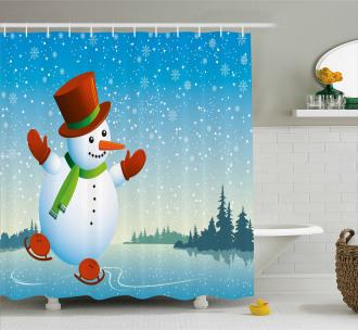 Skating Happy Cartoon Shower Curtain