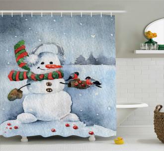 Watercolor Xmas Winter Shower Curtain
