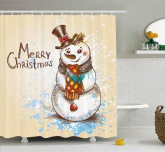 Artistic Xmas Sketch Shower Curtain