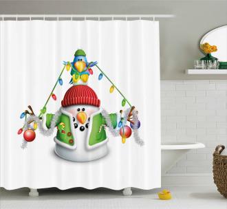 Cartoon Xmas Elements Shower Curtain