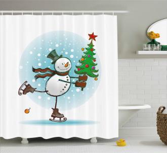 Skating Xmas Tree Snow Shower Curtain