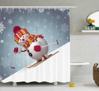 Skiing 3D Style Winter Shower Curtain