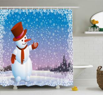 Happy Cartoon Snowfall Shower Curtain