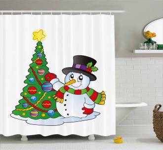 Lovely Xmas Tree Winter Shower Curtain