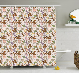 Abstract Farm Animals Shower Curtain