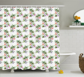 Flamingo Hibiscus Art Shower Curtain