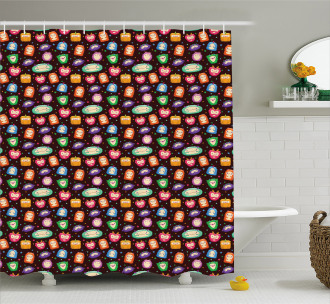 Abstract Fluffy Monsters Shower Curtain