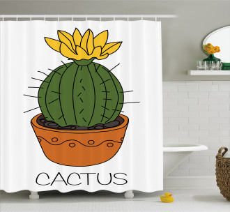 Plant with Yellow Flower Shower Curtain