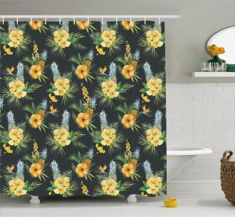 Tropic Flower Design Shower Curtain