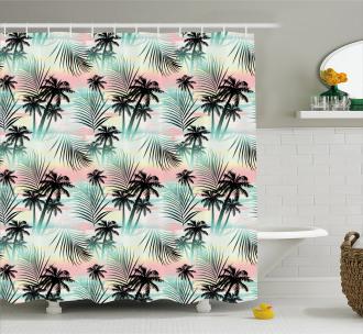 Summer Palm Trees Fern Shower Curtain