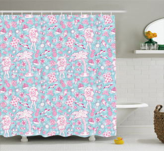 Tropical Doodle Design Shower Curtain