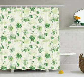 Sketch Style Palm Trees Shower Curtain