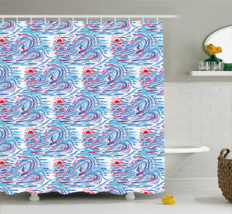 Surf Theme Watercolor Shower Curtain