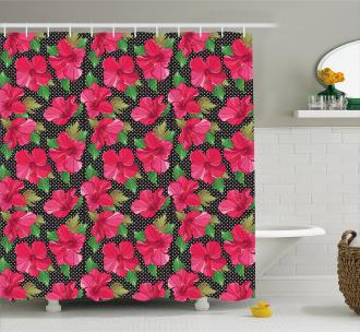Polka Dots Hibiscus Shower Curtain