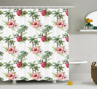 Palm Trees Hibiscus Shower Curtain