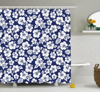 Flowering Hibiscuses Shower Curtain