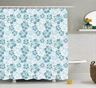 Faded Flower Silhouettes Shower Curtain