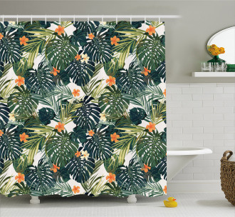 Colorful Polynesia Plant Shower Curtain