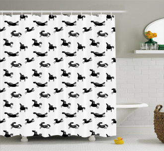Doodle Equidae Pattern Shower Curtain