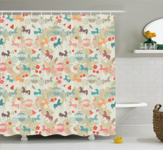 Carriage with Stallions Shower Curtain
