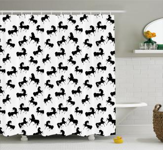 Monochrome Farm Animal Shower Curtain