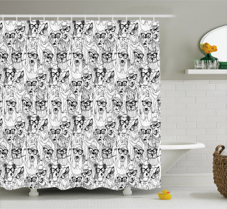 Cute Terrier and Pug Shower Curtain