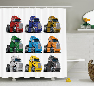 Colorful Transportation Shower Curtain