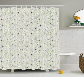 Blowball Flower Motif Shower Curtain