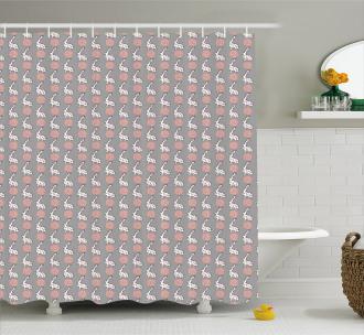 Cartoon Flora Fauna Shower Curtain