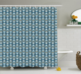 Ethnic Angled Lines Design Shower Curtain