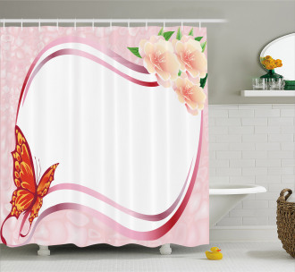 Abstract Floral Pink Shower Curtain