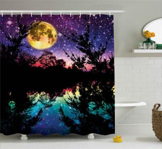Night Sky Trees Shower Curtain