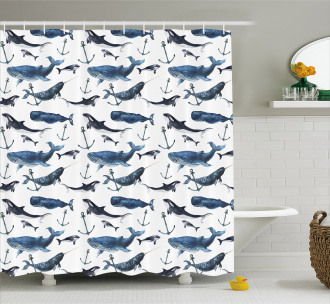 Orcas and Blue Whales Shower Curtain