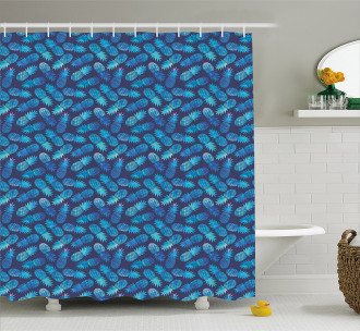 Tropical Pineapple Blue Shower Curtain