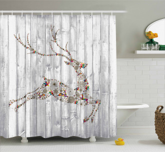 Artful Xmas Animal Rustic Shower Curtain