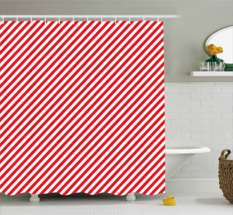Diagonal Red Lines Shower Curtain